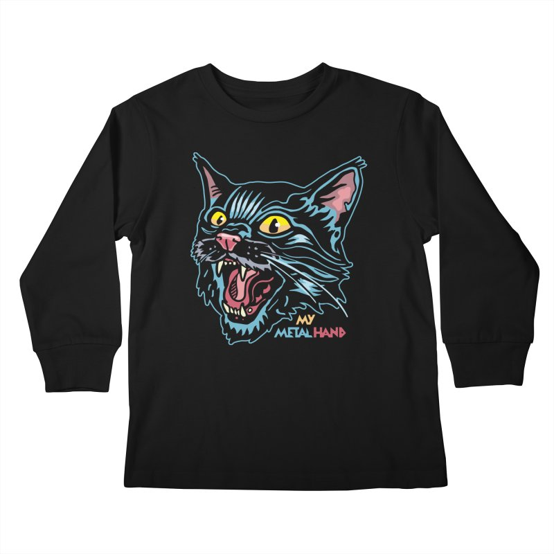 Angry Cat MMH Kids Longsleeve T-Shirt by My Metal Hand Artist Shop