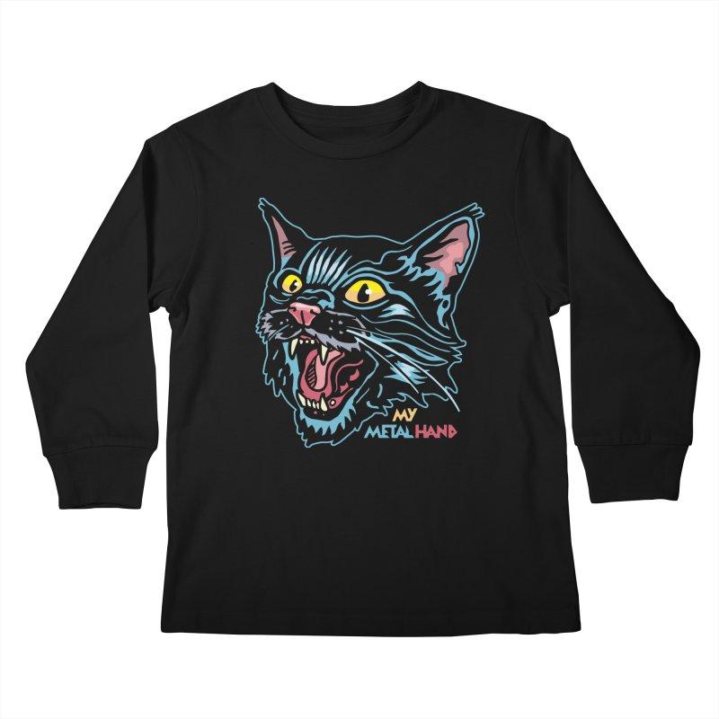 Angry Cat MMH Kids Longsleeve T-Shirt by My Metal Hand Artist Shop