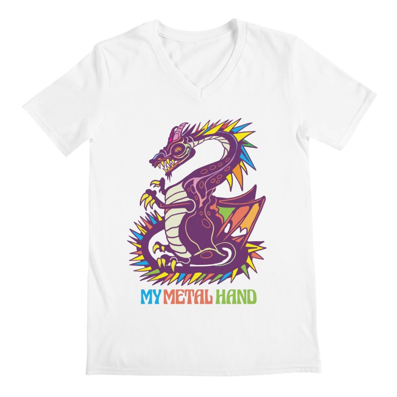 Dragon MMH Men's Regular V-Neck by My Metal Hand Artist Shop