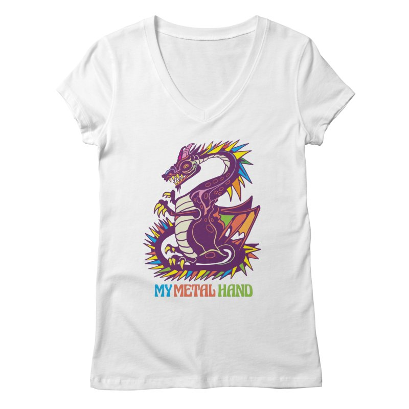 Dragon MMH Women's Regular V-Neck by My Metal Hand Artist Shop