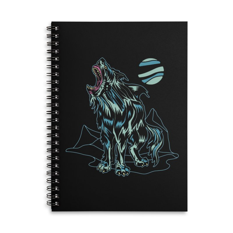 Shark Wolf 2018 Accessories Lined Spiral Notebook by My Metal Hand Artist Shop