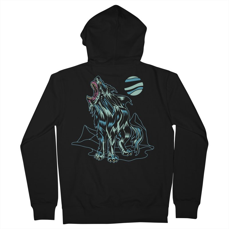 Shark Wolf 2018 Men's French Terry Zip-Up Hoody by My Metal Hand Artist Shop