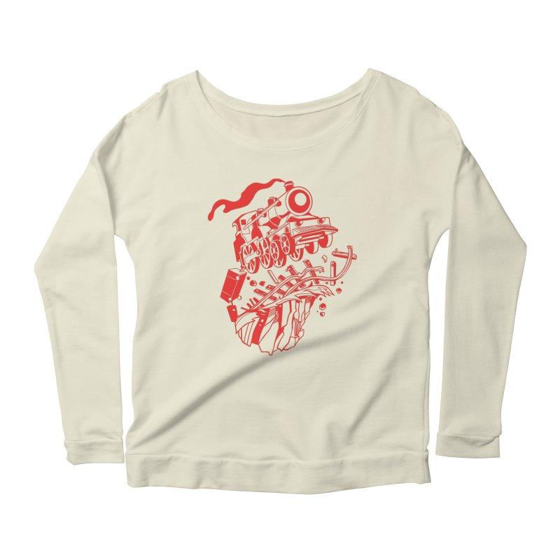 Off The Rails Women's Scoop Neck Longsleeve T-Shirt by My Metal Hand Artist Shop