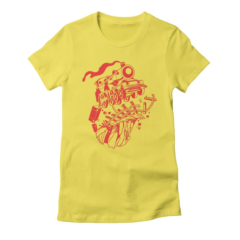 Off The Rails Women's Fitted T-Shirt by My Metal Hand Artist Shop