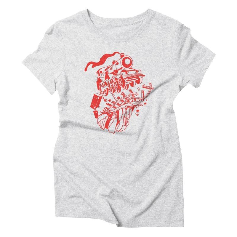 Off The Rails Women's Triblend T-Shirt by My Metal Hand Artist Shop