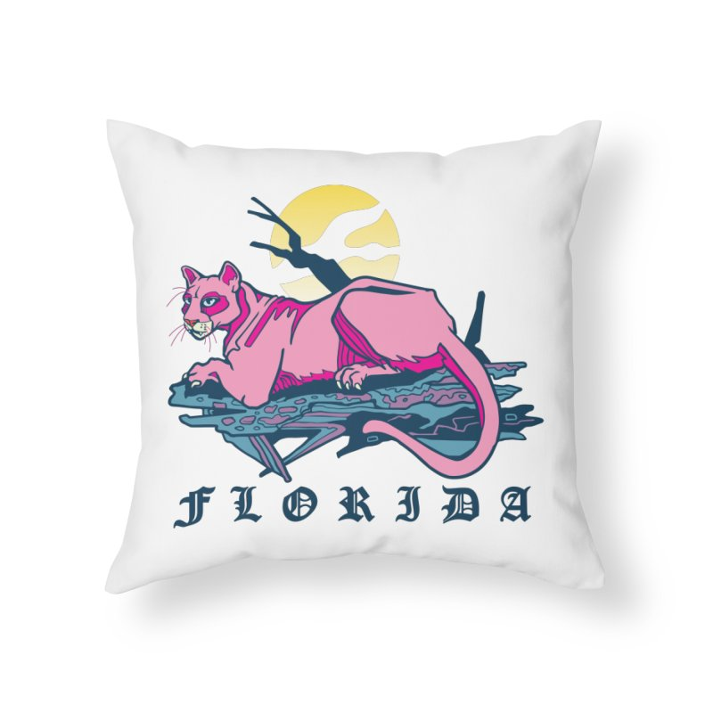 Florida Panther Home Throw Pillow by My Metal Hand Artist Shop