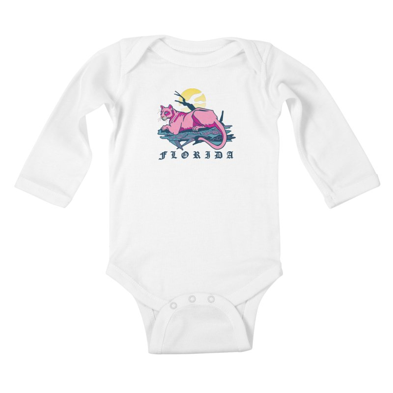 Florida Panther Kids Baby Longsleeve Bodysuit by My Metal Hand Artist Shop