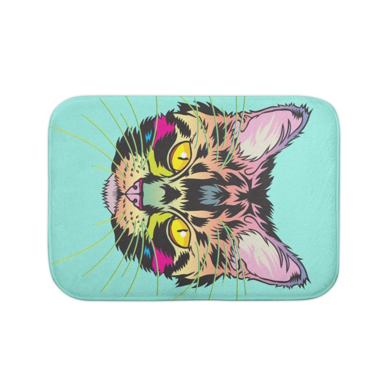 Neon Tabby Home Bath Mat by My Metal Hand Artist Shop