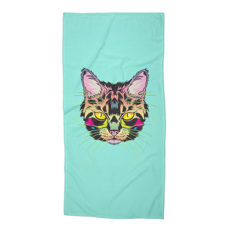 Neon Tabby Accessories Beach Towel by My Metal Hand Artist Shop
