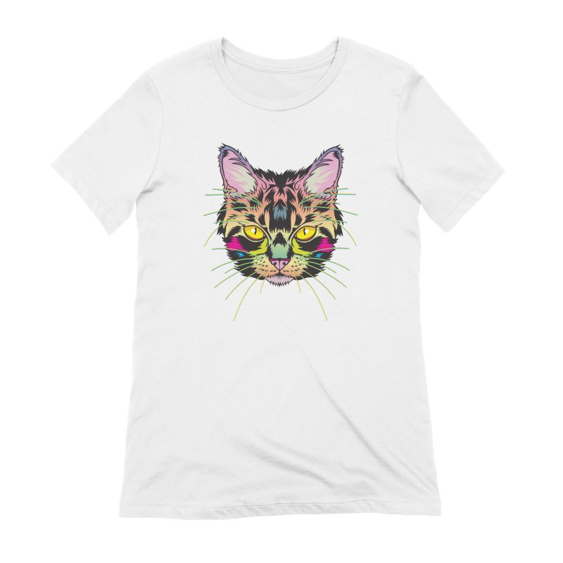 Neon Tabby Women's Extra Soft T-Shirt by My Metal Hand Artist Shop