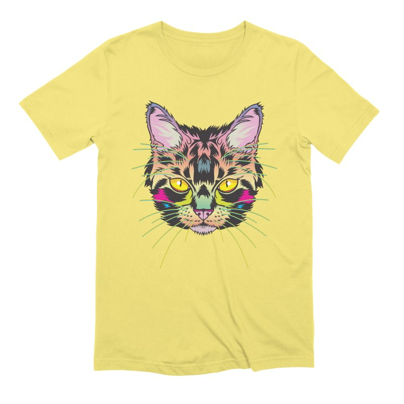 Neon Tabby Men's Extra Soft T-Shirt by My Metal Hand Artist Shop