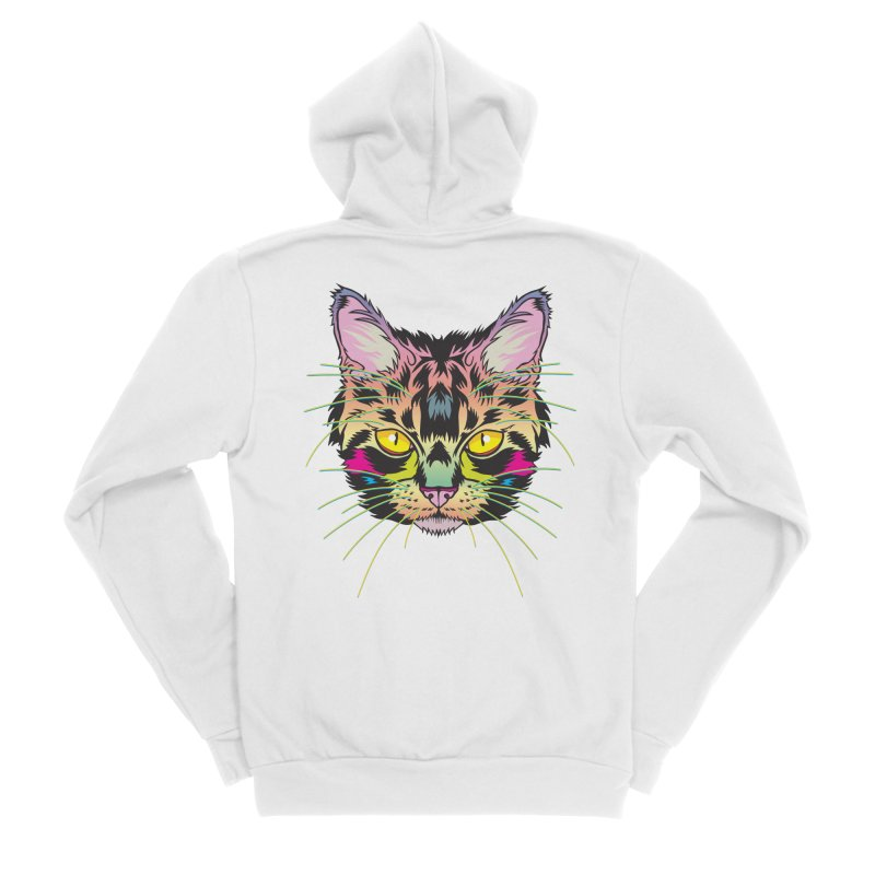 Neon Tabby Women's Sponge Fleece Zip-Up Hoody by My Metal Hand Artist Shop