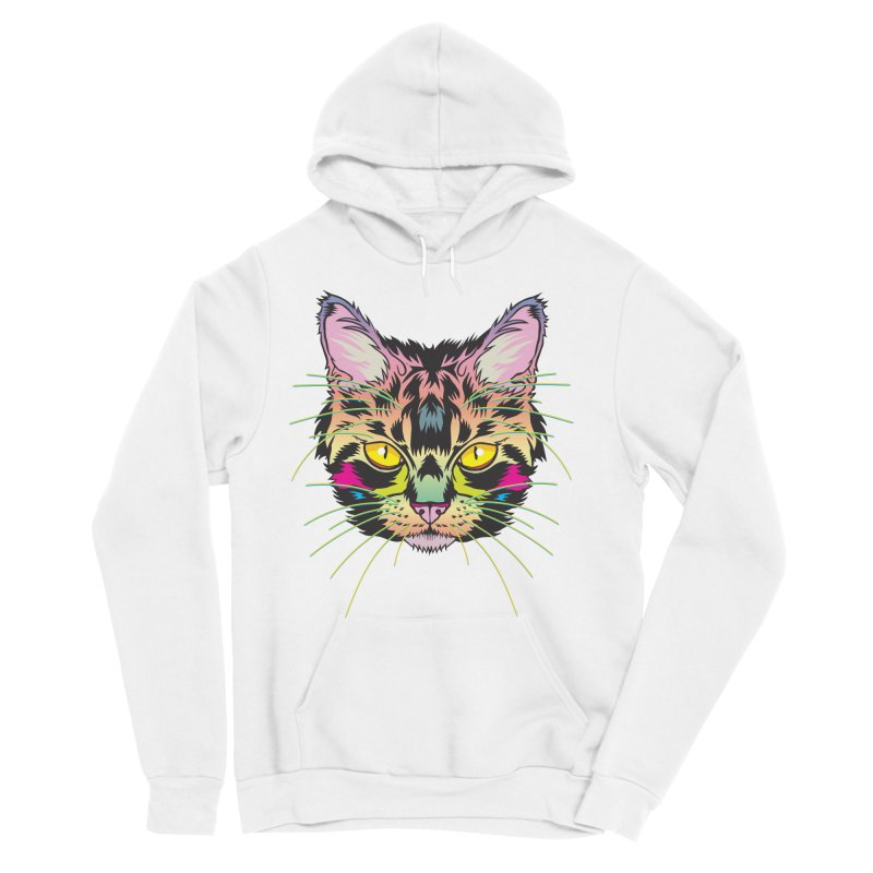 Neon Tabby Women's Sponge Fleece Pullover Hoody by My Metal Hand Artist Shop