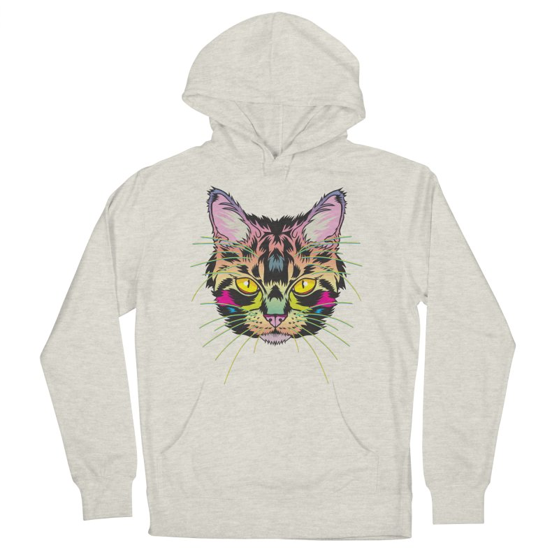 Neon Tabby Women's French Terry Pullover Hoody by My Metal Hand Artist Shop