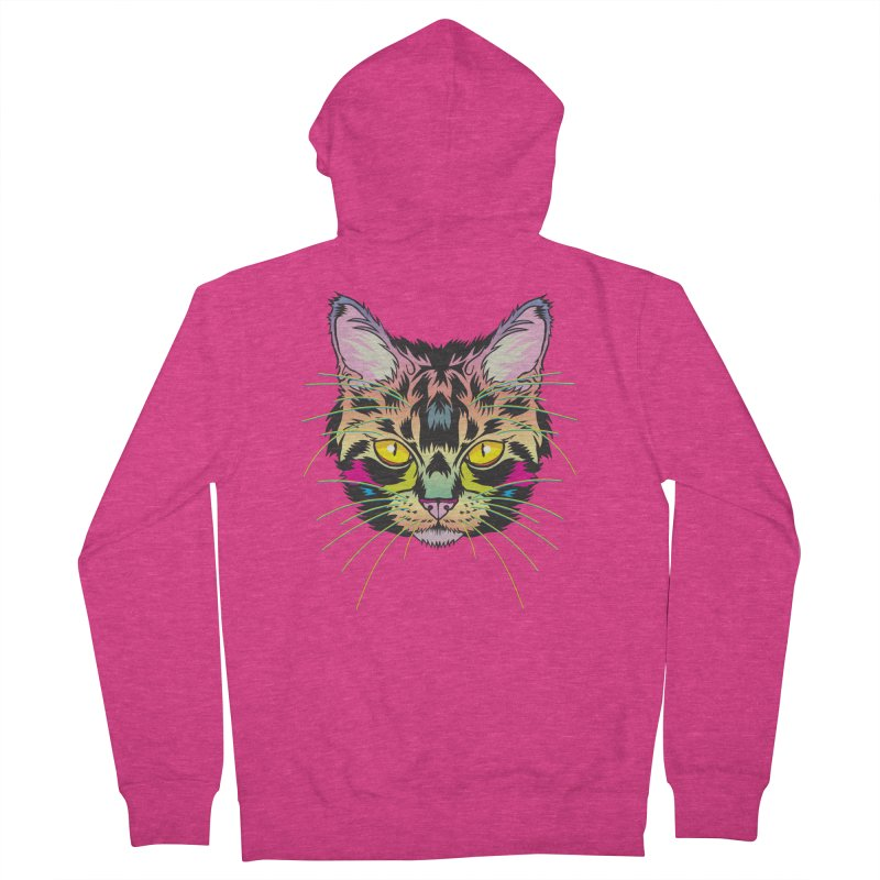 Neon Tabby Women's French Terry Zip-Up Hoody by My Metal Hand Artist Shop