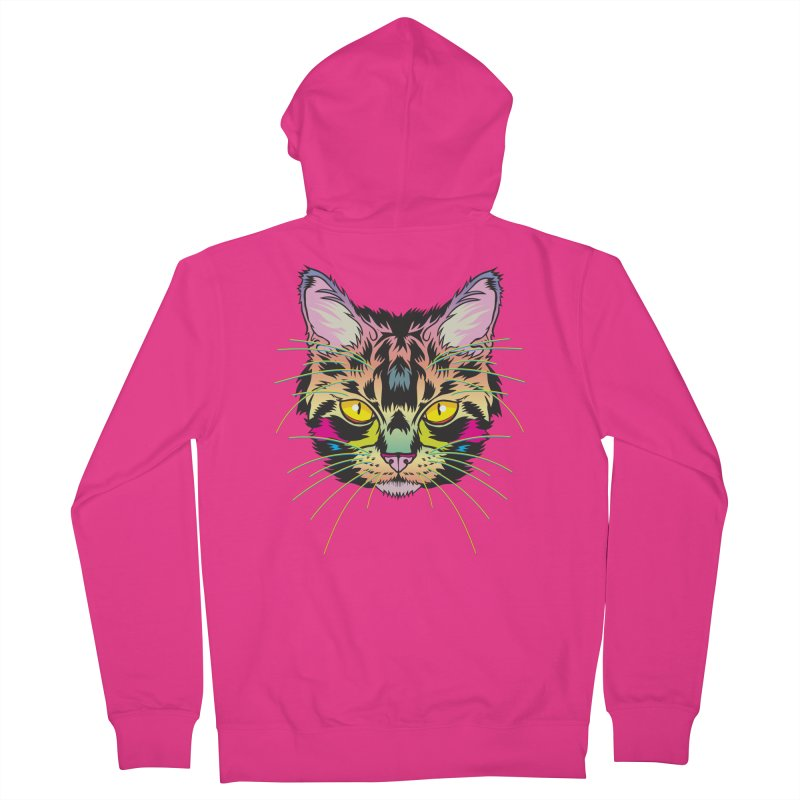 Neon Tabby Men's French Terry Zip-Up Hoody by My Metal Hand Artist Shop