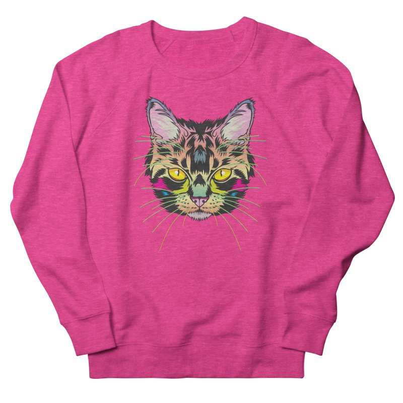 Neon Tabby Women's French Terry Sweatshirt by My Metal Hand Artist Shop