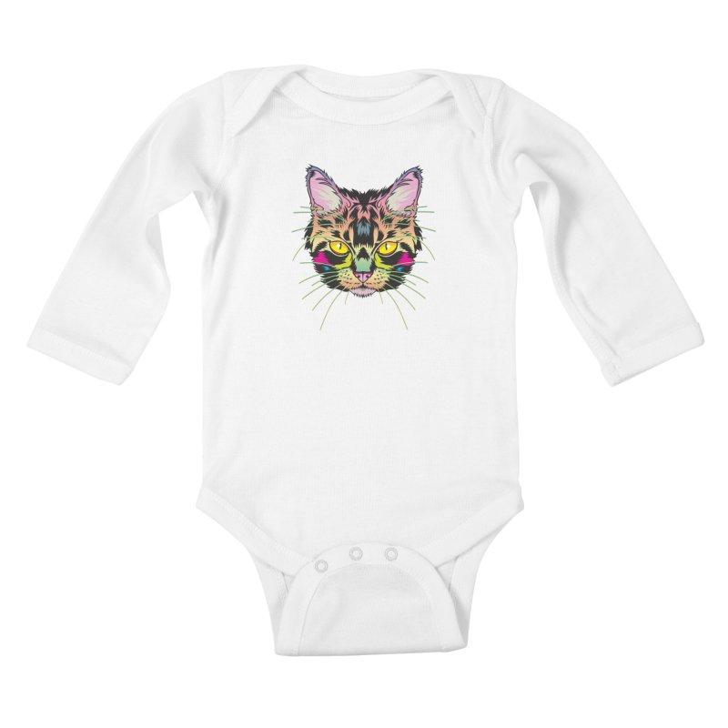 Neon Tabby Kids Baby Longsleeve Bodysuit by My Metal Hand Artist Shop
