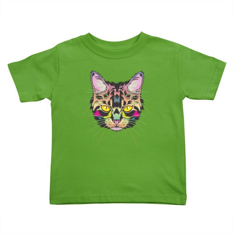 Neon Tabby Kids Toddler T-Shirt by My Metal Hand Artist Shop