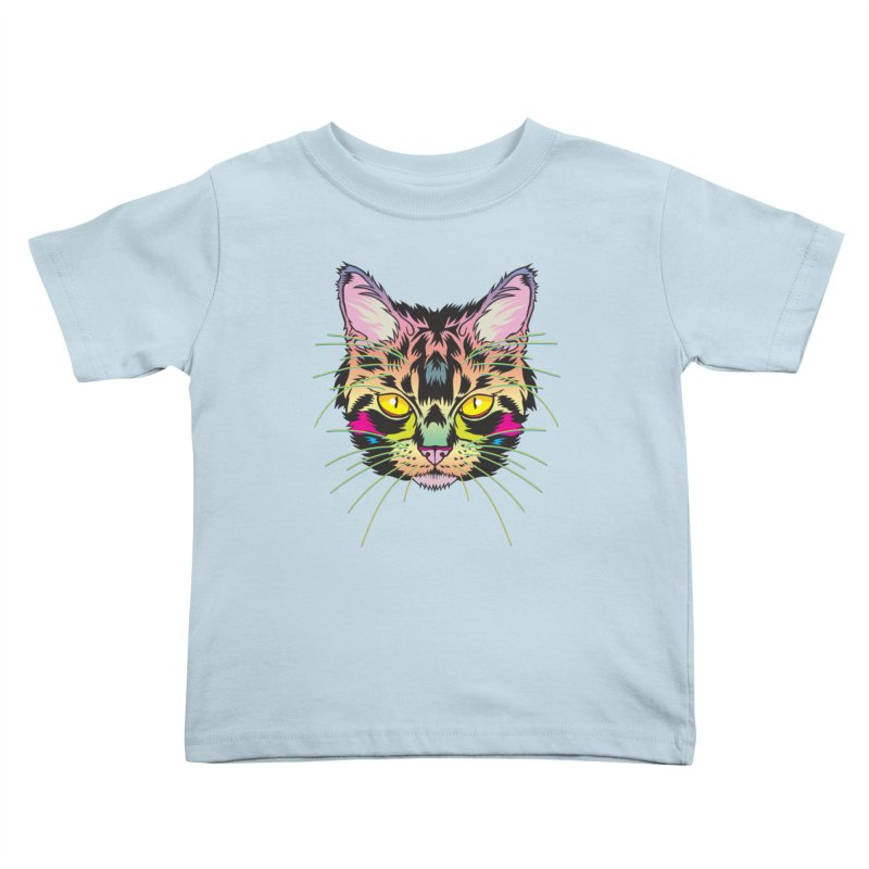 Neon Tabby Kids Toddler T-Shirt by My Metal Hand Artist Shop