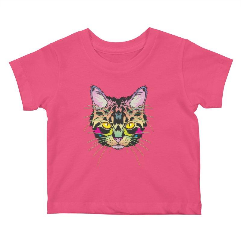 Neon Tabby Kids Baby T-Shirt by My Metal Hand Artist Shop