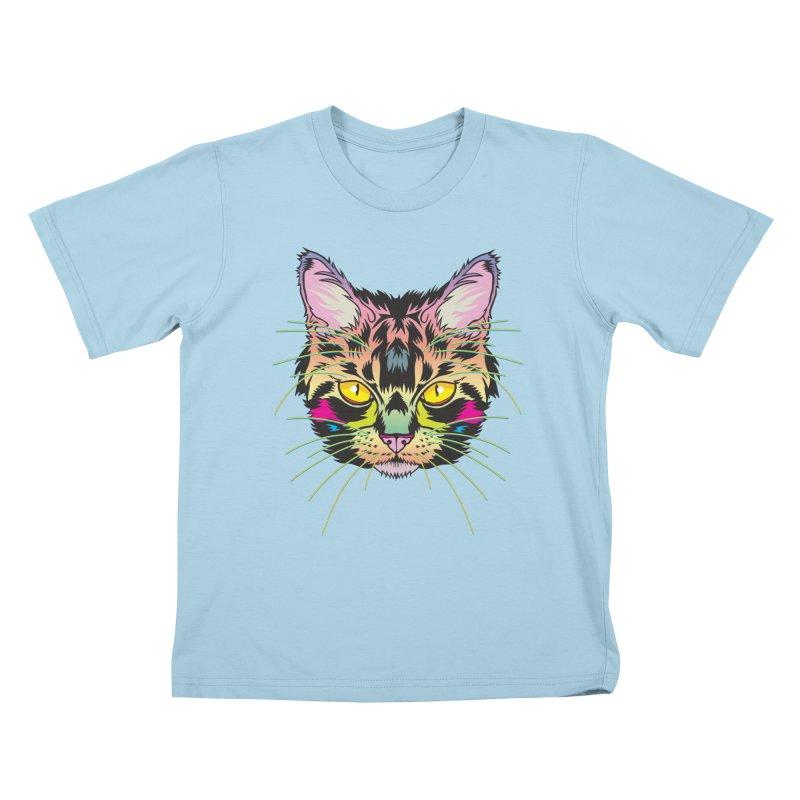 Neon Tabby Kids T-Shirt by My Metal Hand Artist Shop