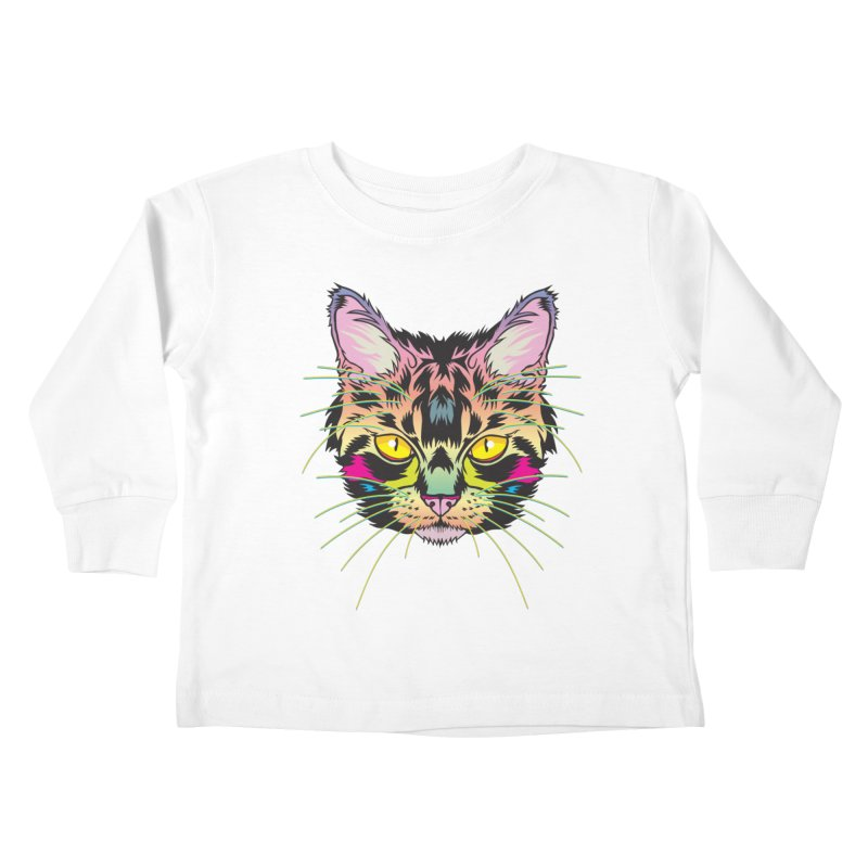 Neon Tabby Kids Toddler Longsleeve T-Shirt by My Metal Hand Artist Shop
