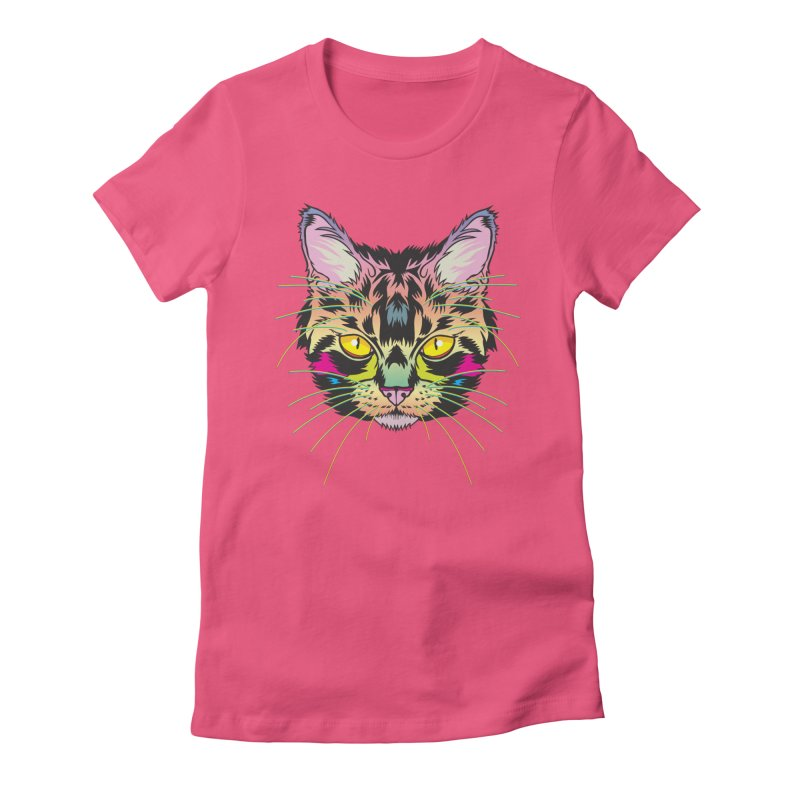 Neon Tabby Women's Fitted T-Shirt by My Metal Hand Artist Shop
