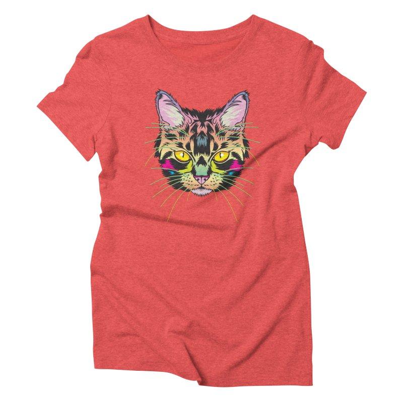 Neon Tabby Women's Triblend T-Shirt by My Metal Hand Artist Shop