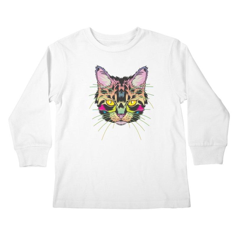 Neon Tabby Kids Longsleeve T-Shirt by My Metal Hand Artist Shop