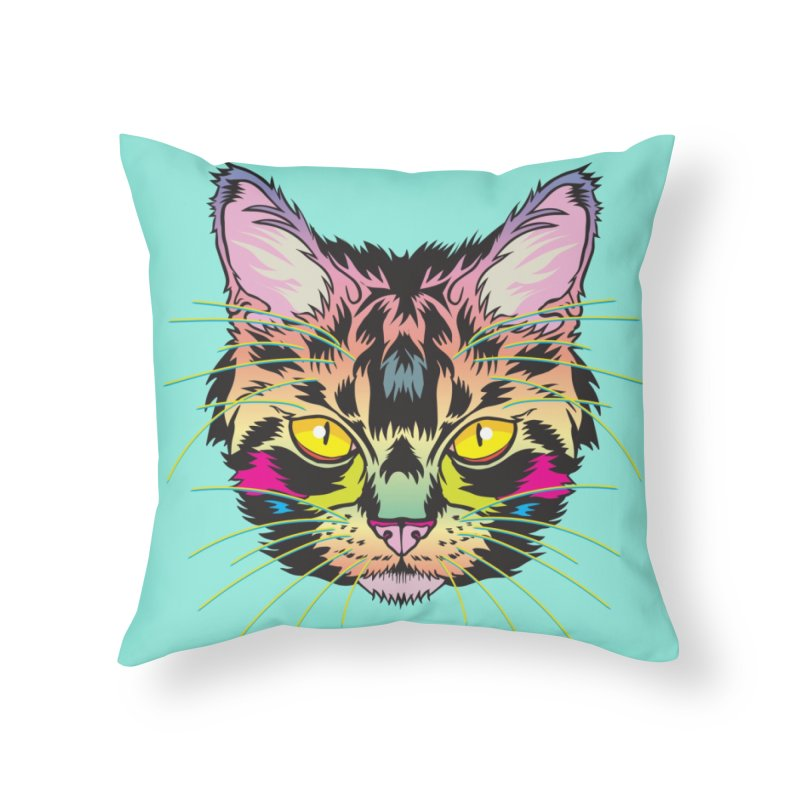 Neon Tabby Home Throw Pillow by My Metal Hand Artist Shop