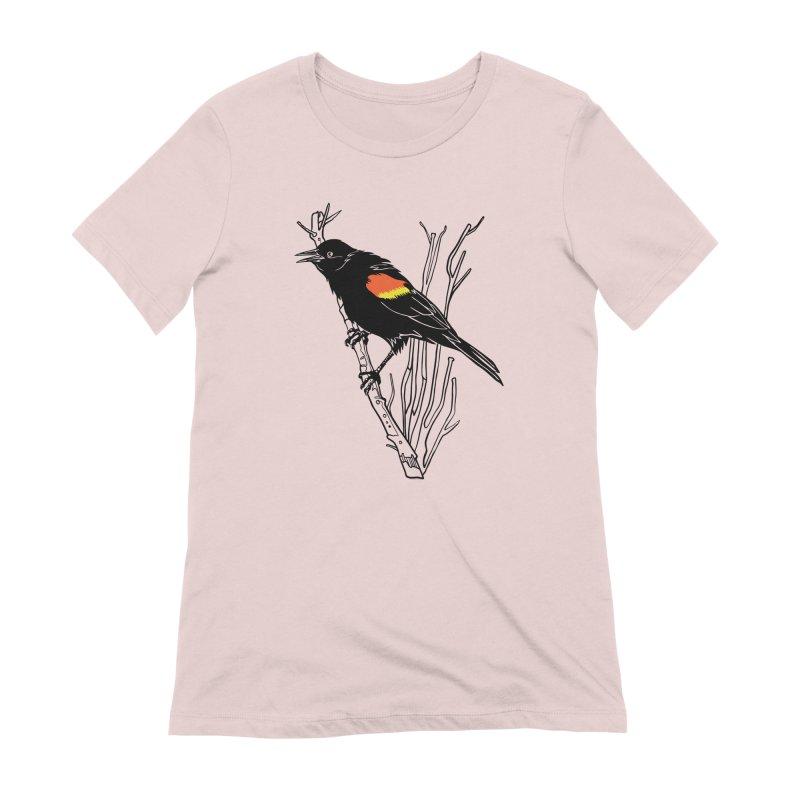 Red-Winged Blackbird Women's Extra Soft T-Shirt by My Metal Hand Artist Shop
