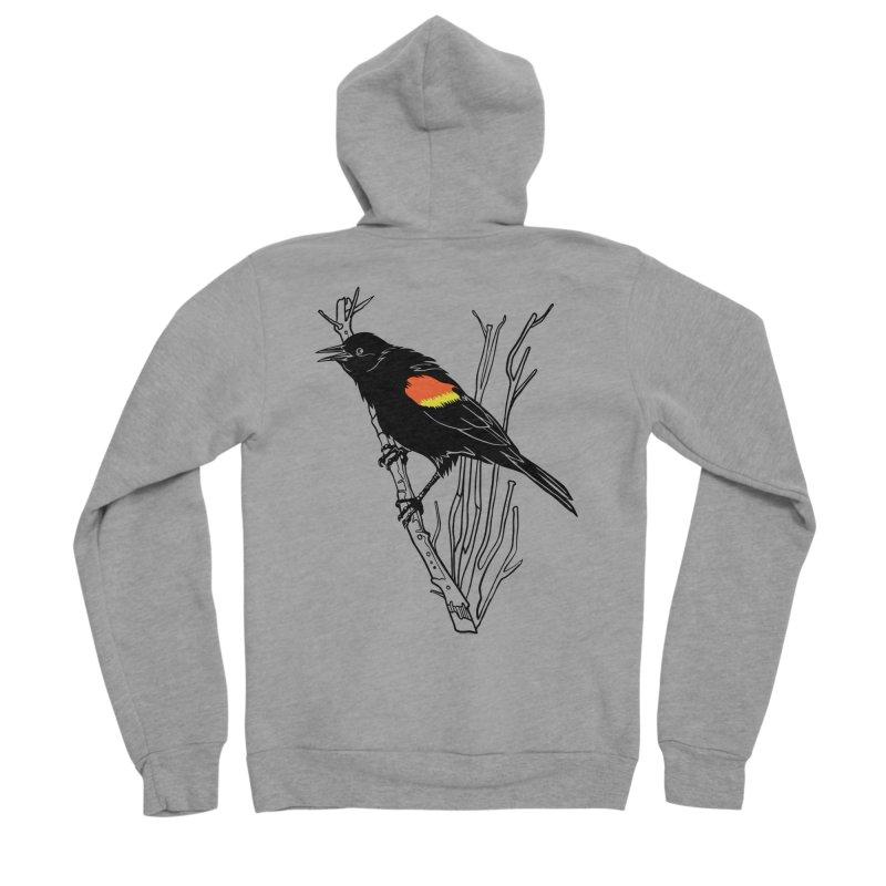 Red-Winged Blackbird Women's Sponge Fleece Zip-Up Hoody by My Metal Hand Artist Shop