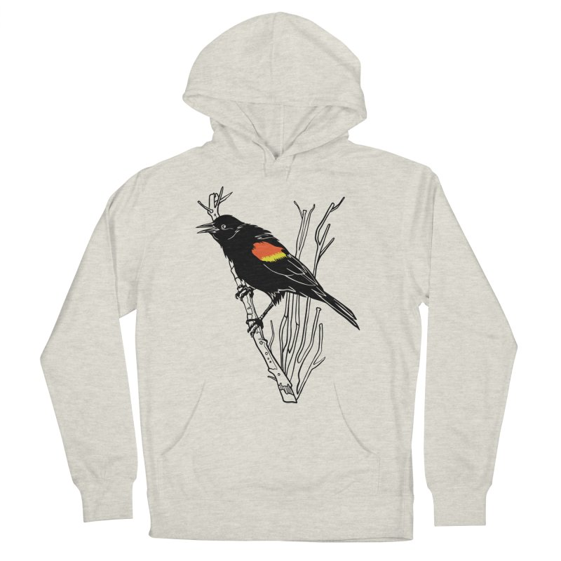 Red-Winged Blackbird Men's French Terry Pullover Hoody by My Metal Hand Artist Shop