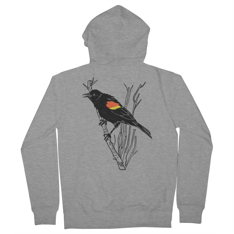 Red-Winged Blackbird Women's French Terry Zip-Up Hoody by My Metal Hand Artist Shop