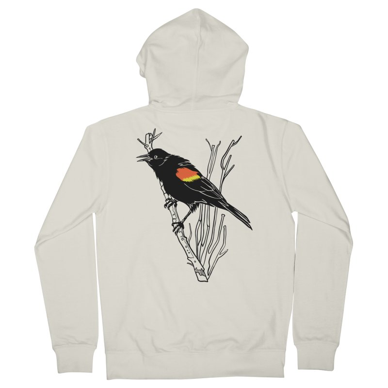 Red-Winged Blackbird Men's French Terry Zip-Up Hoody by My Metal Hand Artist Shop