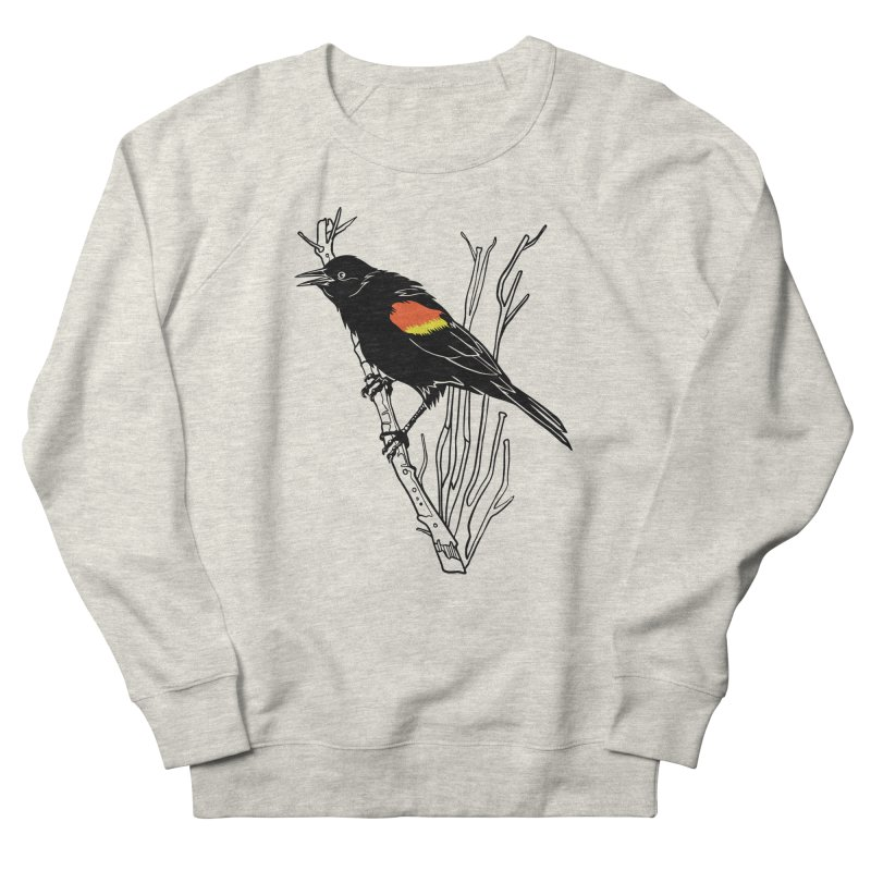 Red-Winged Blackbird Women's French Terry Sweatshirt by My Metal Hand Artist Shop