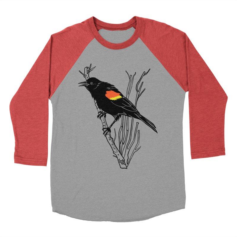 Red-Winged Blackbird Men's Baseball Triblend Longsleeve T-Shirt by My Metal Hand Artist Shop