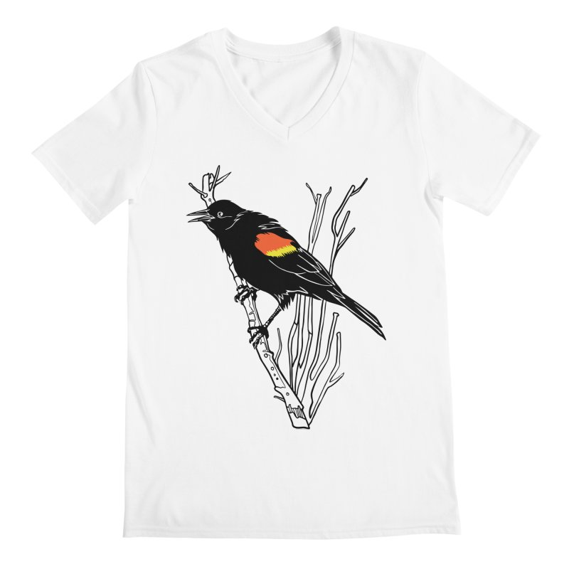 Red-Winged Blackbird Men's Regular V-Neck by My Metal Hand Artist Shop