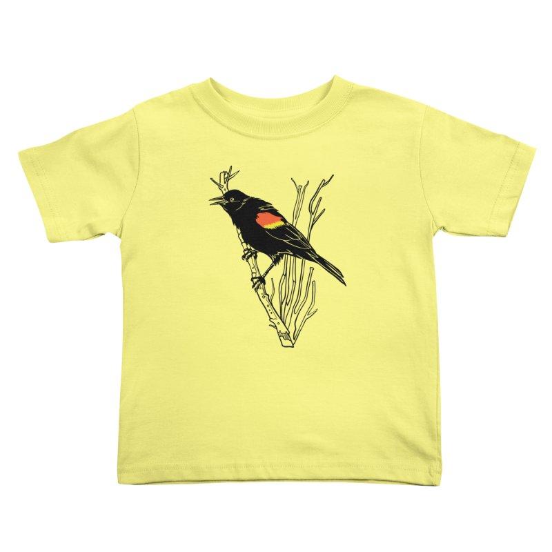 Red-Winged Blackbird Kids Toddler T-Shirt by My Metal Hand Artist Shop