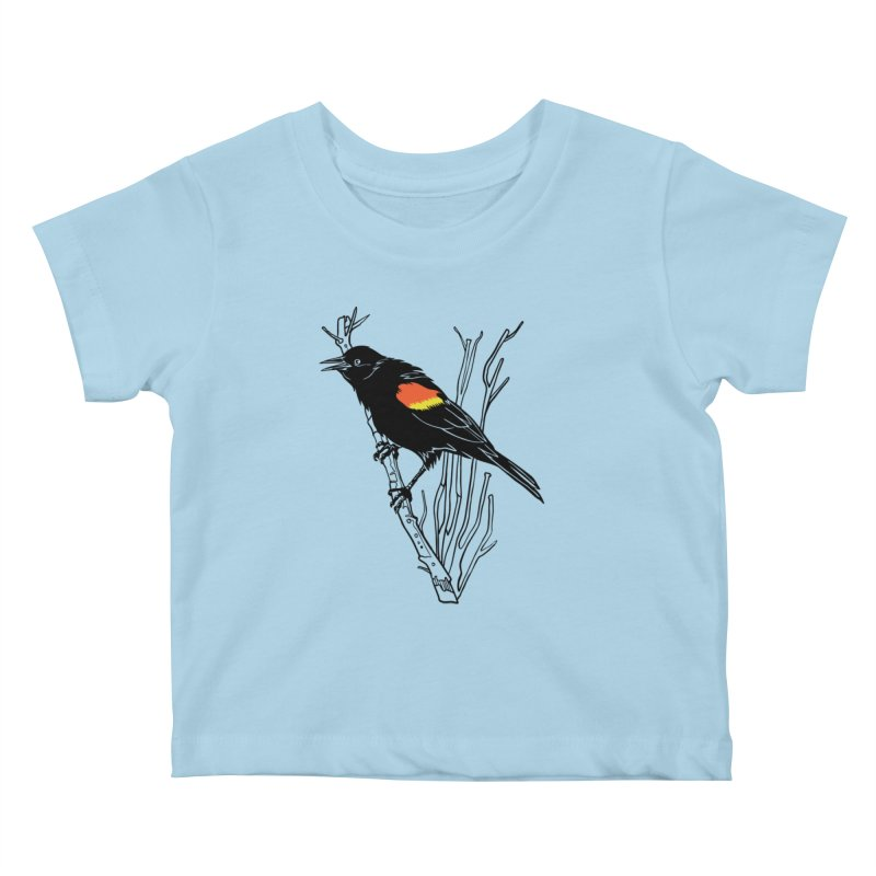 Red-Winged Blackbird Kids Baby T-Shirt by My Metal Hand Artist Shop