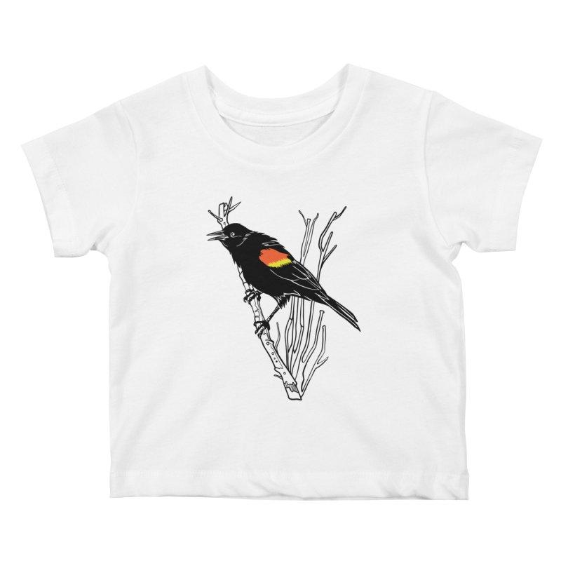 Red-Winged Blackbird Kids Baby T-Shirt by My Metal Hand Artist Shop