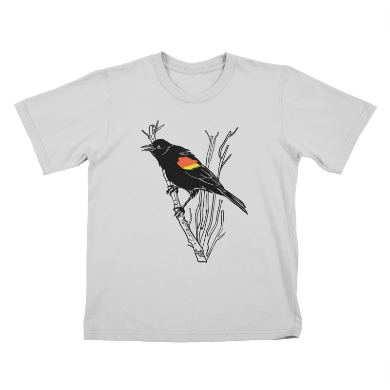 Red-Winged Blackbird Kids T-Shirt by My Metal Hand Artist Shop
