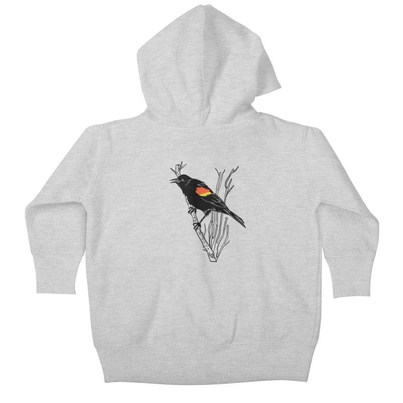 Red-Winged Blackbird Kids Baby Zip-Up Hoody by My Metal Hand Artist Shop
