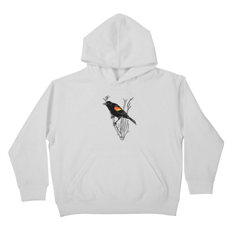 Red-Winged Blackbird Kids Pullover Hoody by My Metal Hand Artist Shop