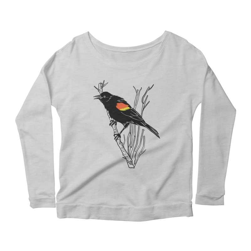 Red-Winged Blackbird Women's Scoop Neck Longsleeve T-Shirt by My Metal Hand Artist Shop