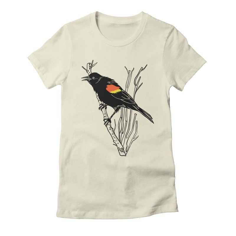 Red-Winged Blackbird Women's Fitted T-Shirt by My Metal Hand Artist Shop
