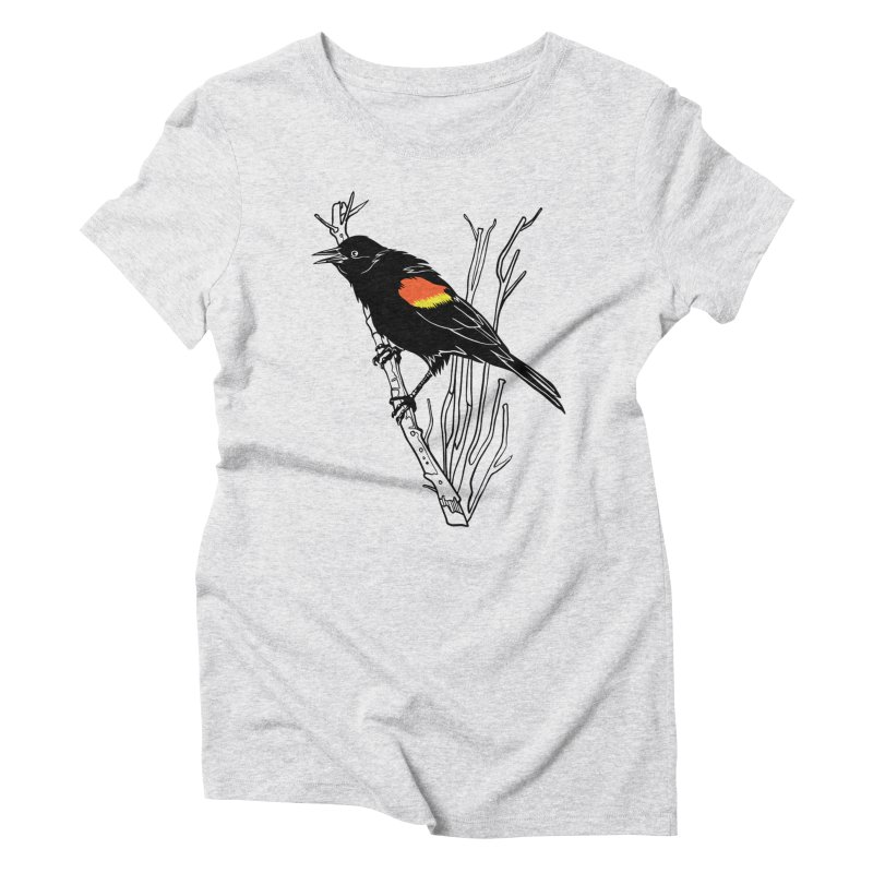 Red-Winged Blackbird Women's Triblend T-Shirt by My Metal Hand Artist Shop