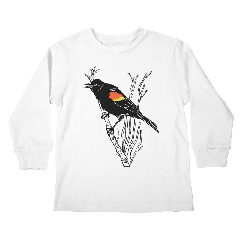 Red-Winged Blackbird Kids Longsleeve T-Shirt by My Metal Hand Artist Shop