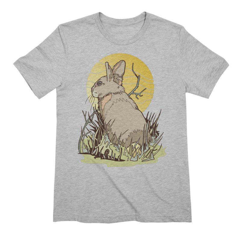 October Rabbit in Men's Extra Soft T-Shirt Heather Grey by My Metal Hand Artist Shop
